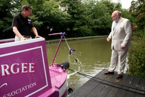 The Mayor officially launches the boat