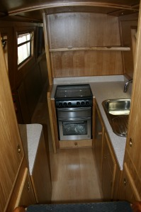 The galley all fitted out for maximum use of space
